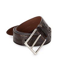 Brunello Cucinelli Croc Embossed Leather Belt Brown