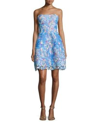 Monique Lhuillier Strapless Floral Lace Cocktail Dress Turquoise Aqua