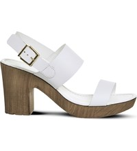 Office Michelle Leather And Wood Effect Sandals White Leather