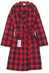 Vetements Oversized Hooded Checked Cotton Flannel Jacket Red Gbp