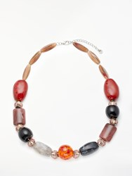 One Button Chunky Bead Statement Necklace Multi