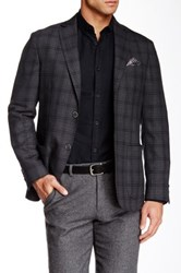 Zanetti Gray Plaid 2 Button Side Vent Modern Fit Wool Sport Coat