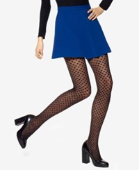 Hue Dotted Mesh Control Top Tights Black