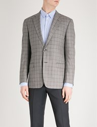 Emporio Armani Checked Regular Fit Wool Jacket Brown