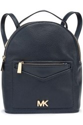 Michael Michael Kors Woman Logo Embellished Textured Leather Backpack Navy