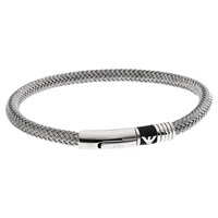 Emporio Armani Men's Brushed Stainless Steel Bracelet Silver Black