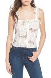 Wayf Acerra Lace Up Lace Top Ivory Embroidered Lace