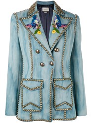 Gucci Embroidered Studded Denim Blazer Women Silk Cotton Viscose Brass 44 Blue