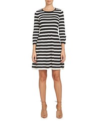 Cece Striped Fit And Flare Dress Black