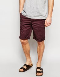 Asos Slim Chino Shorts In Long Length Burgundy Red