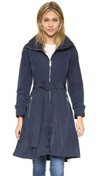 Add Down Coat With Skirt And Hidden Hood Dark Navy