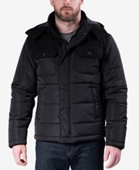 Hawke And Co. Outfitter Men's Quilted Mixed Media Puffer Jacket Black