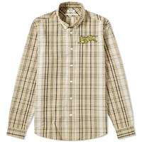 Kenzo Jumping Tiger Check Button Down Shirt Brown