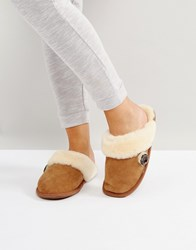 Bedroom Athletics Molly Double Faced Sheepskin Mule Chestnut Brown
