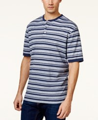 Weatherproof New Stripe Pique Henley Shirt Medium Blue