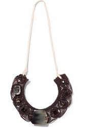 Marni Embellished Braided Cord Necklace Brown