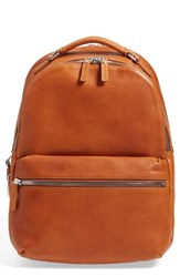 Shinola Runwell Leather Laptop Backpack Brown Bourbon