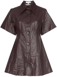 Beaufille Piper Crocodile Embossed Faux Leather Shirt Dress Purple