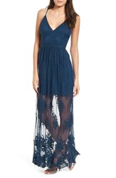 Socialite Embroidered Maxi Dress Blue Aurora