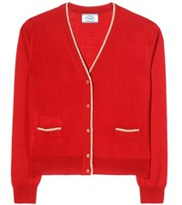 Prada Virgin Wool And Silk Blend Cardigan Red