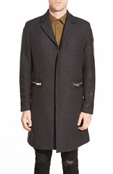 Diesel 'Crow' Wool Blend Long Coat With Leather Sleeves Dark Charcoal