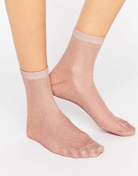 Asos Rose Gold Glitter Socks Rose Gold Pink