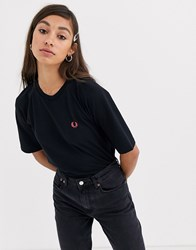 Fred Perry Oversized Logo Tee Black