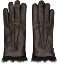 Fendi Black Leather And Fur Gloves