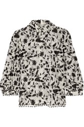Zimmermann Embellished Embroidered Cotton And Silk Blend Organza Blouse Black
