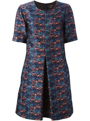Odeeh Shortsleeved Jacquard Dress Blue