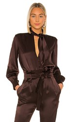 Amanda Uprichard Henrietta Blouse In Brown. Cocoa