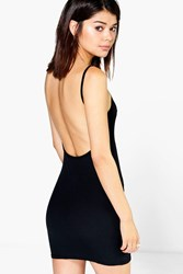 Boohoo Ribbed Open Back Bodycon Dress Black