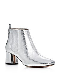 Marc Jacobs Metallic Rocket Chelsea Mid Heel Booties Silver