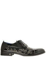 Giovanni Conti Chain Embroidered Patent Leather Shoes Black