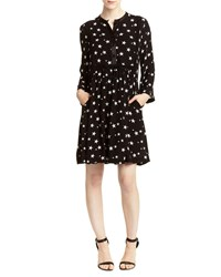 Romeo And Juliet Couture Star Print Long Sleeve Shirtdress Black