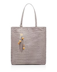 Elizabeth And James Eloise Magazine Croc Embossed Leather Tote Light Gray Silver