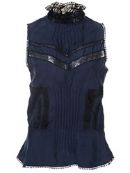 Derek Lam 10 Crosby Lace Panel Tank Blue