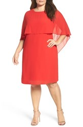 Vince Camuto Plus Size Women's Chiffon Cape Sheath Dress