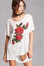 Forever 21 Distressed Floral Applique Tee