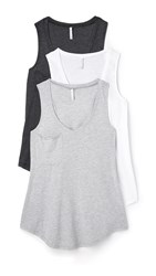 Z Supply Pocket Racer Tank 3 Pack Black White Grey