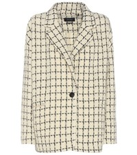 Isabel Marant Mark Wool Blend Printed Knitted Blazer Beige
