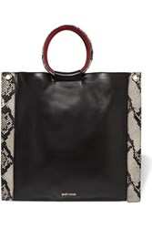 Just Cavalli Snake Effect And Smooth Leather Tote Black