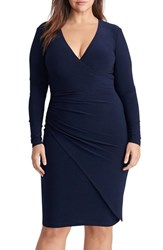 Lauren Ralph Lauren Plus Size Women's Ruched Jersey Faux Wrap Dress