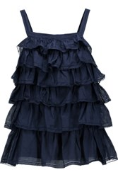 Joie Hailstone Tiered Washed Cotton And Silk Blend Top Midnight Blue