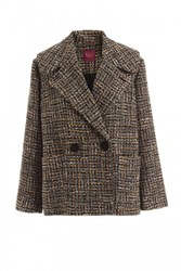 Wtr Empire Boucle Double Breasted Coat Brown And Black