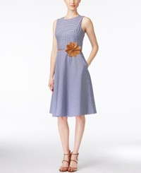 Jessica Howard Petite Belted Fit And Flare Dress Blue