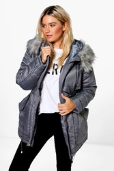 Boohoo Luxe Padded Coat With Faux Fur Hood Grey