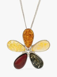 Be Jewelled Amber Flower Pendant Necklace Multi