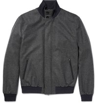 Ermenegildo Zegna Herringbone Trofeo Wool And Cashmere Blend Bomber Jacket Gray