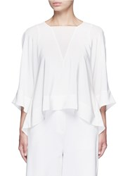 Tibi Dolman Sleeve Sheer V Neck Silk Top White